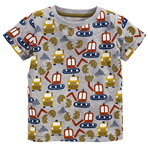 7 Excavator (Frogwill Toddler Boys Excavator Long Short Sleeve Cartoon T Shirt Size 2-7 Years (7T,)