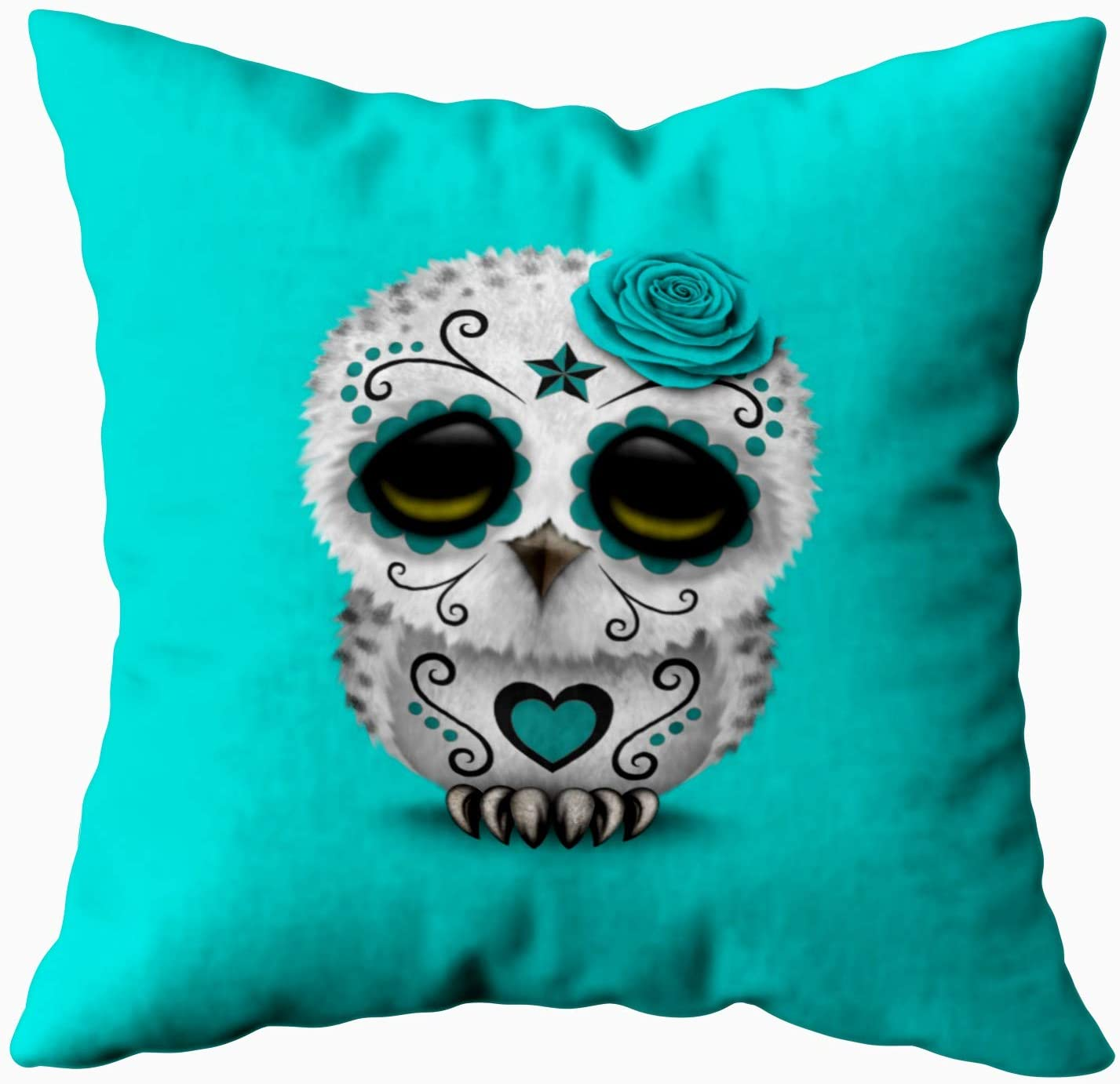 Musesh Accent Cute Teal Day of The Dead Sugar Skull owl Blue Cushions Case Throw Pillow Cover for Sofa Home Decorative Pillowslip Gift Ideas Household Pillowcase Zippered Pillow Covers 16X16Inch