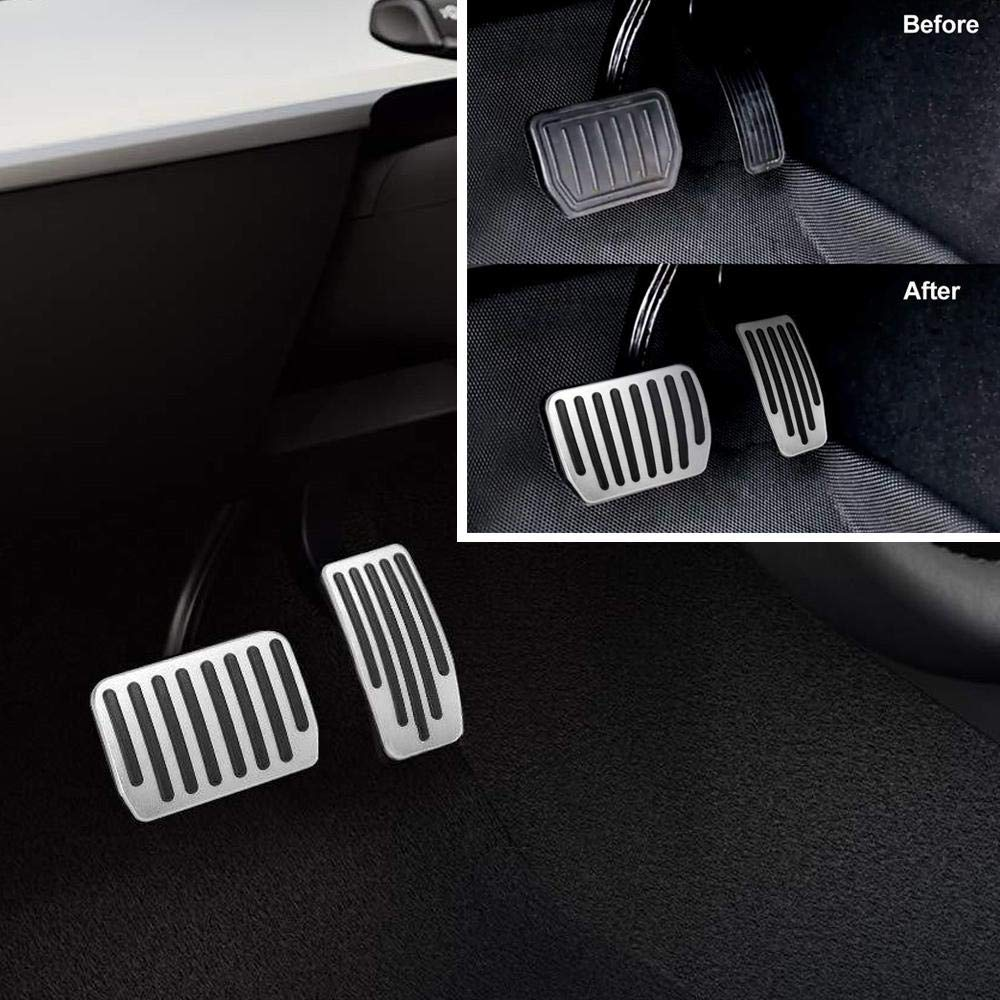 Ceepko Tesla Model 3 Accessories Performance Pedal Covers Auto Aluminum Anti-Slip Accelerator Pedals Brake Foot Pedal Pads For Easy Installation A Set Of 3