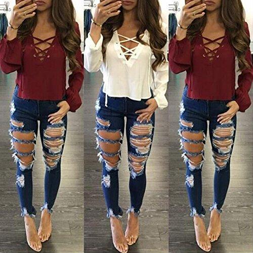 Denim Elegante Slim Donna Strappato Stirata Pantaloni Jeans Come Fit Immagine Skinny wPETqTR