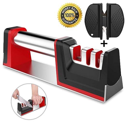 Nifogo Afilador de Cuchillos, Knife Sharpener Profesional, 3 en 1 Manual Cocina Afiladores Cuchillos, Repara Rápidamente Cuchillos Tijeras (3 in 1, ...