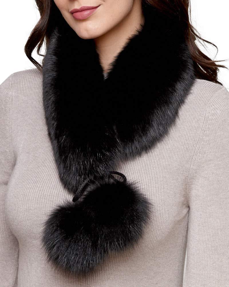 Black Fox Fur Headband with Pom Poms by frr (Image #3)