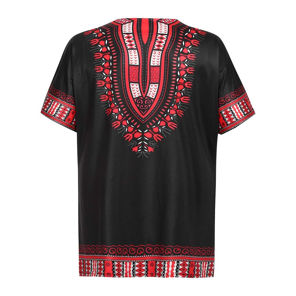 Amlaiworld T-Shirt Hommes African Impression Vintage Blouses /Ét/é O Cou Poche Manches Courtes Chemise Loose Casual Cool Tees