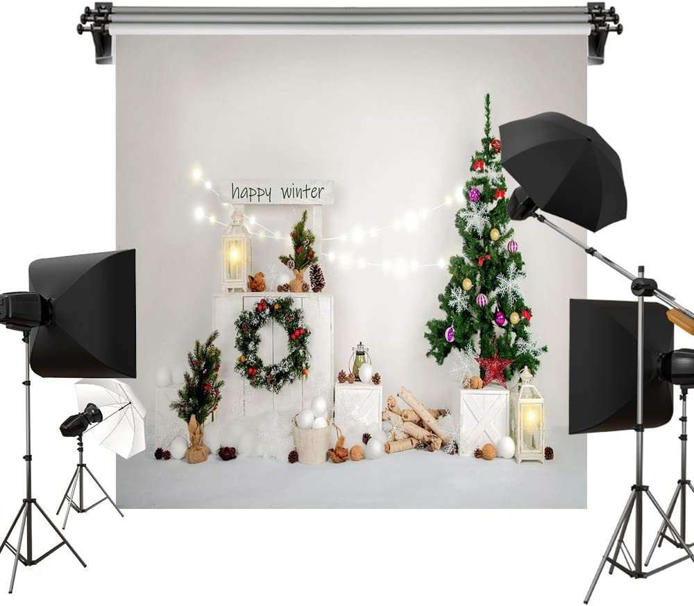 Kate 8x8ft/2.5x2.5m Xmas Tree Backdrops Happy Winter Snow Christmas Wreath Gifts Photography Shoot Studio Backgrounds Props