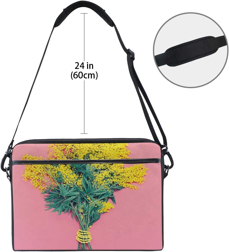 College Students Business People O Briefcase Messenger Shoulder Bag for Men Women Laptop Bag Yellow Mimosa Bouquet On Pink 15-15.4 Inch Laptop Case