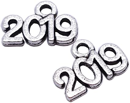 100pcs Antique Silver New Year 2019 Charms Necklace Pendant Jewelry Findings DIY