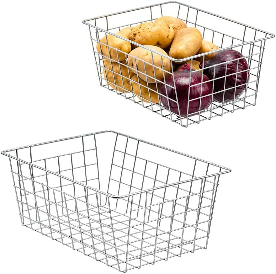 WenZBros Metal Kitchen Food Organizer Baskets, Wire Household Container Storage Bins Dividers with Handles- for Freezer, Cupboard, Pantry, Cabinet, Closet, Garage (Chrome, 12 X 9 X 5.5)
