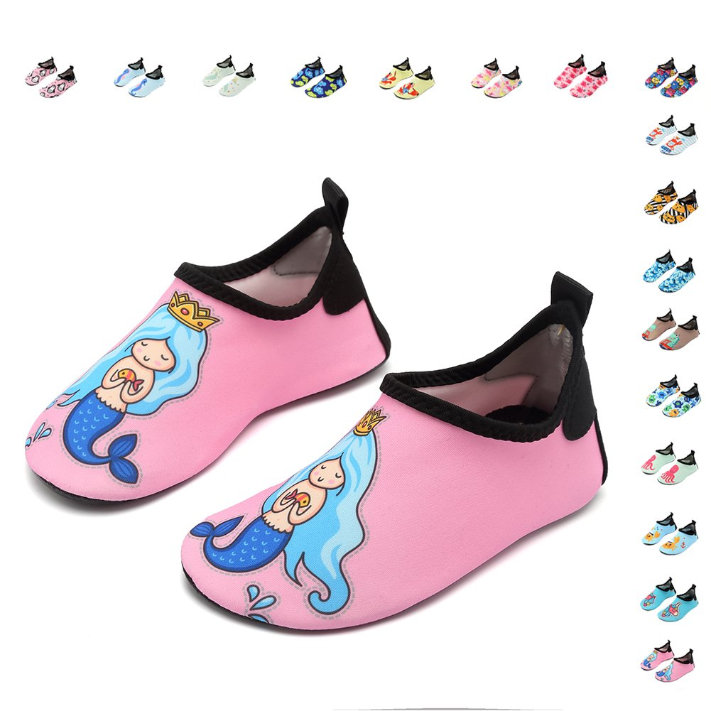 CIOR Fantiny Kids Water Shoes Boys Girls Swim Shoes Quick-Dry Barefoot Aqua Shoes Socks for Beach Pool Surfing Yoga,U118SSX008,Mermaid Pink,28.29