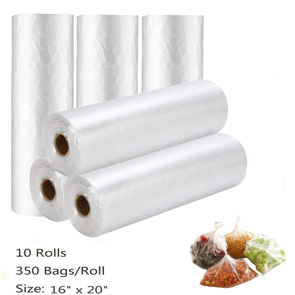 16 x 20 350/Bag On Roll Plastic Produce Clear Kitchen Grocery Food Fruit Storag, 10 Rolls AM09