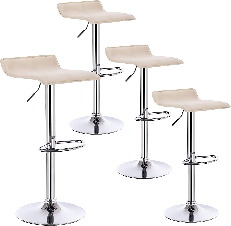 WOLTU/® BH11cm-4 4 X Sgabelli da Bar Sedia Cucina con Poggiapiedi Similpelle Cromato Altezza Regolabile Girevole Moderni Crema