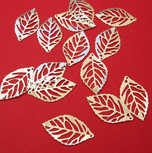 BeadsTreasure 20 Leaf Charm Pendant Connector Hollow Cut Silver Plated Jewelry Making Finding Supply.
