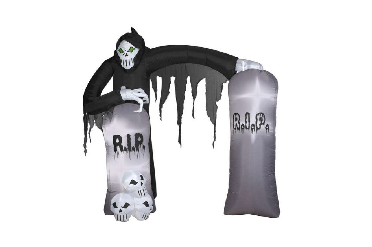 Gemmy Airblown Inflatable Grim Reaper Archway with Tombstones and Skulls - Holiday Decoration, 8.5-foot Tall x 8-foot Wide x 3.5-foot Deep by Gemmy