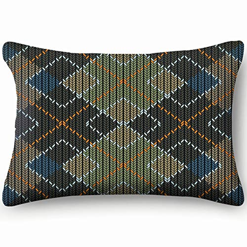 (Argyle Sweater Detailed Abstract Home Decor Wedding Gift Engagement Present Housewarming Gift Cushion Cover 20X30 Inch)