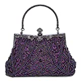 Kaever Women's Vintage Style Beaded and Sequined Evening Bag Wedding Party Handbag Clutch Purse (Purple)