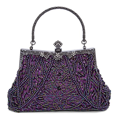 Kaever Women's Vintage Style Beaded and Sequined Evening Bag Wedding Party Handbag Clutch Purse (Purple) by Kaever