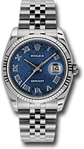 Rolex Oyster Perpetual Datejust 36mm Stainless Steel Case, 18K White Gold Fluted Bezel, Blue Jubilee Dial, Roman Numeral and Jubilee Bracelet.