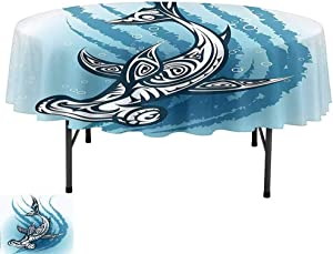 Aishare Store Table Cloths, D55 Inch Table Cloth for Kitchen Dining, Shark Hammerhead Fish with Ornamental Effects Swimming Ocean Image Dark and Petrol Blue White