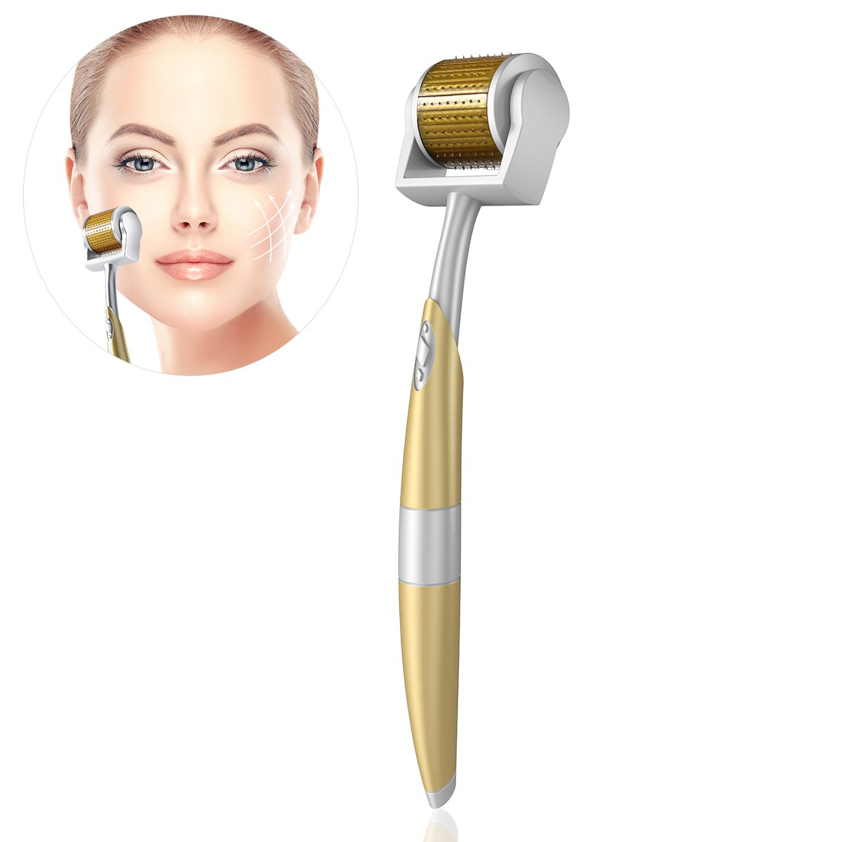 TinkSky Derma Roller - 0.5mm 192 Needles Stainless Steel- Micro Needle Roller Medical Grade for Reducing Fine Wrinkles, Cellulite, Acne Scars, Stretch Marks and More