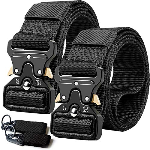 2PCS Tactical Belt,Military Style Webbing Riggers Web Gun Belt with Heavy-Duty Quick-Release Metal Buckle With 2 Keychains ()