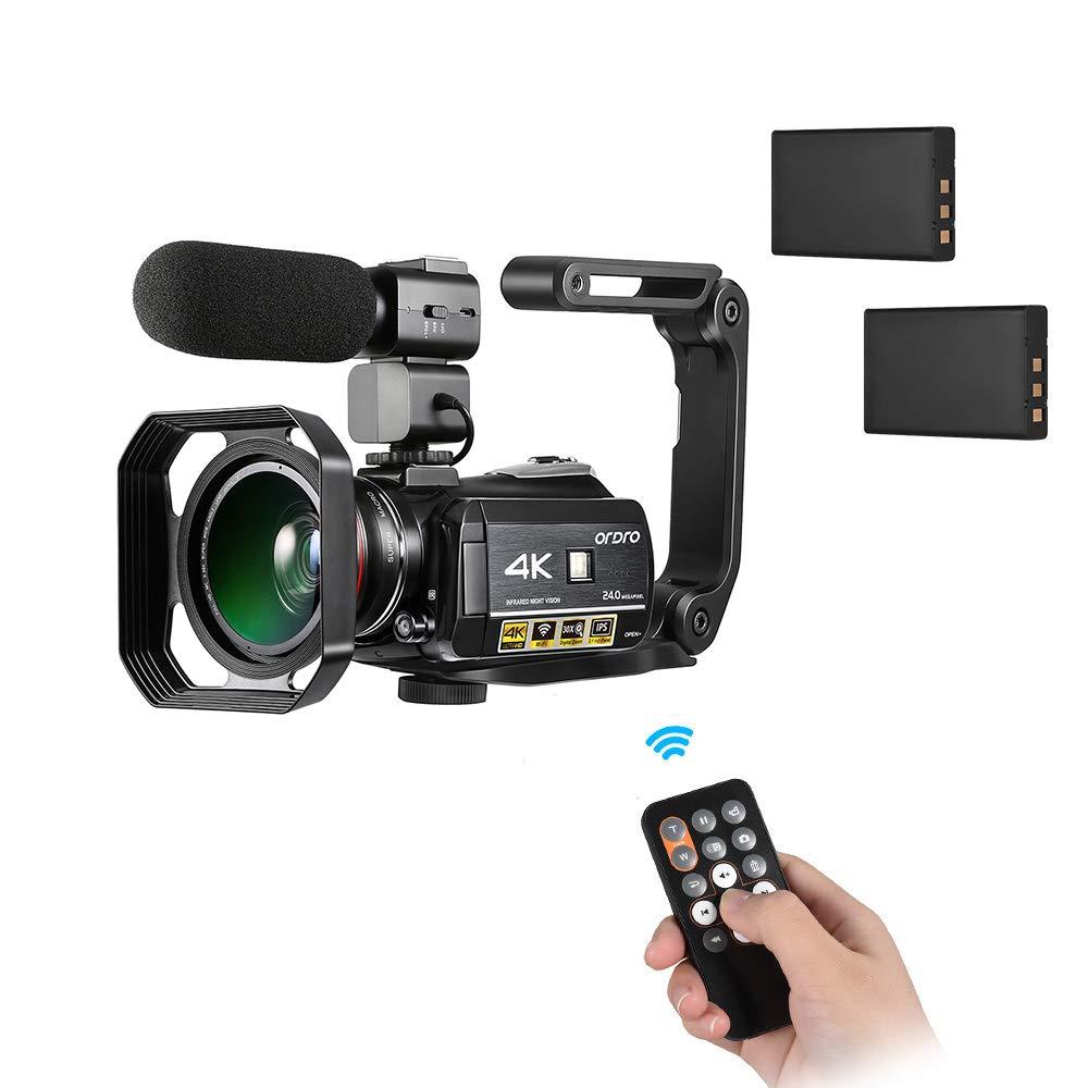 Docooler ORDRO AC3 4K WiFi デジタルカメラ ビデオカメラ 24MP 30倍ズーム IRナイトビジョン 3.1インチIPS LCD タッチスクリーン 2本充電式バッテリー+エクストラ0.39倍広角レンズ+外付けマイク+レンズフード+カメラホルダー付き   B07PDJVHYX