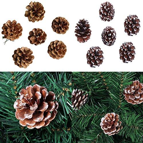 Yahpetes Christmas Pine Cones Ornament 6 Pcs Christmas Pine Cones 1.96 Snow Tipped Natural Pine Cones PineCones for Christmas Tree Decoration