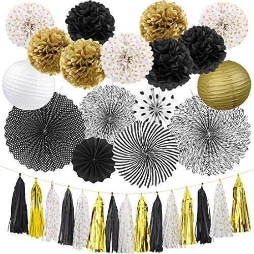 Black and Gold Party Decorations Birthday Party Supplies Paper Fan Set Tissue Pom Poms Paper Lanterns Tissue Garland for Wedding Bridal Shower Baby Shower Birthday Party Decorations (Black and ()