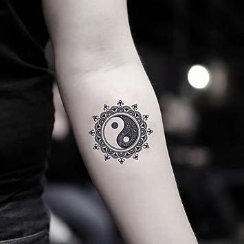 Amazon Com Mandala Yin Yang Temporary Fake Tattoo Sticker Set Of