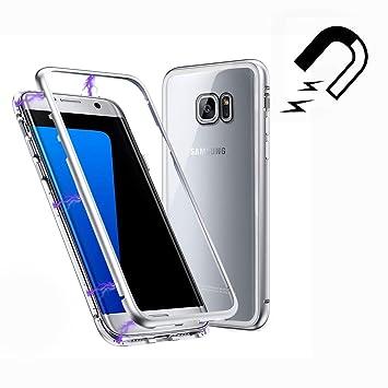 Funda Samsung Galaxy S7 Edge, [Adsorción Magnética] Marco de Metal Carcasa de Teléfono Parachoque Imanes Incorporados con Cubierta Dura de Trasera de ...