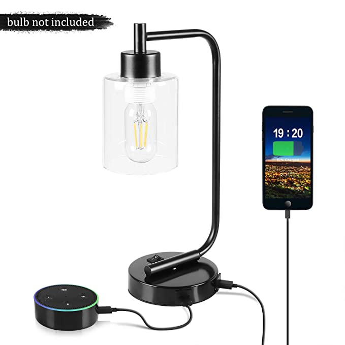 Dual Usb Desk Lamp, Aooshine Industrial Style Table Lamp With Usb Charging Ports, Iron Nightstand Lamp, Suitable For Bedroom, Dining Room, Living Room by Aooshine