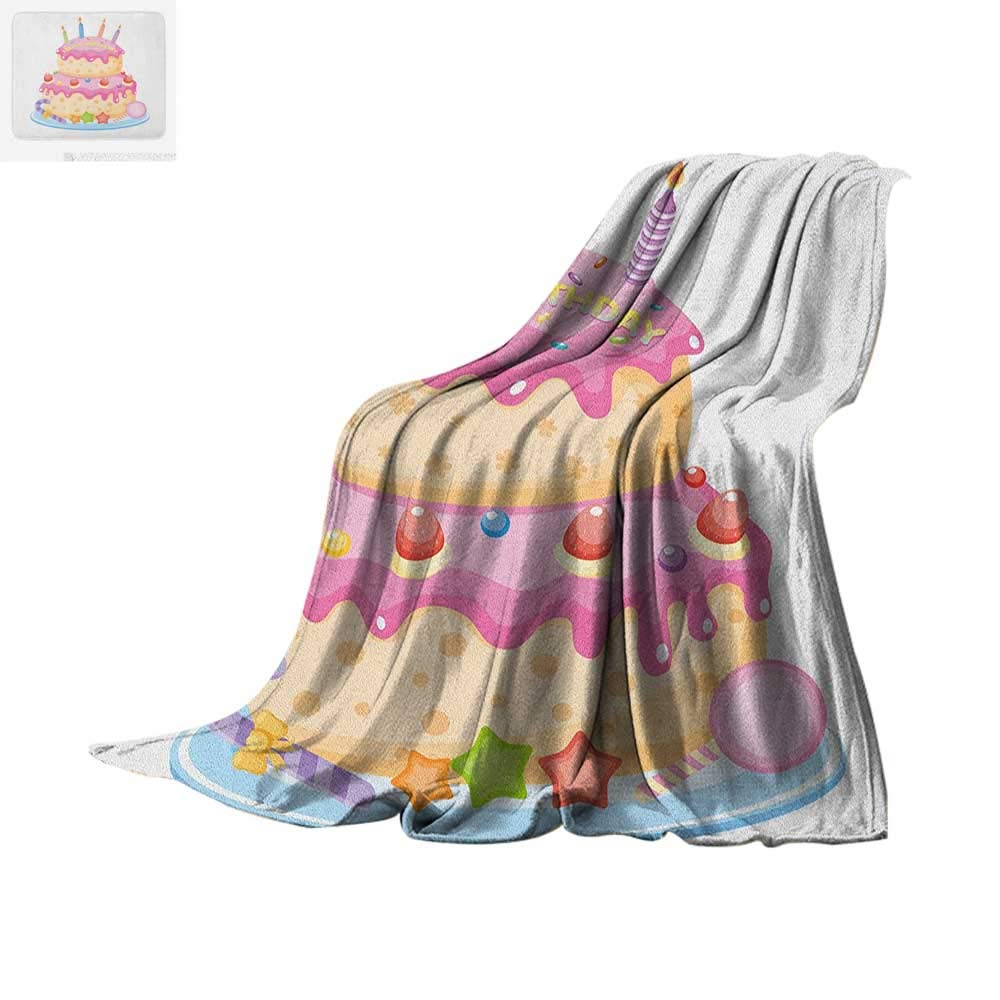 "Kids Birthday Digital Printing Blanket Pastel Colored Birthday Party Cake with Candles and Candies Celebration Image Oversized Travel Throw Cover Blanket 80""x60"" Pale Pink"