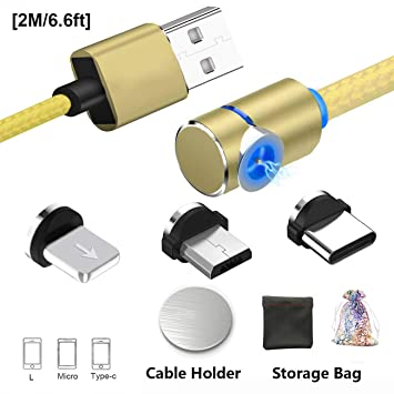 Cable magnético de carga USB con imán de cable, Micro USB Tipo C Iluminación Cargador Cable / Cable con LED para Android / Teléfono - Sin datos de ...