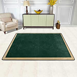 Soccer Office Chair Mat for Carpet 6' x 9', Tactic Diagram with Pass and Goal Arrangement Attacking Defending Chalkboard Printed Rug, Dark Green Beige
