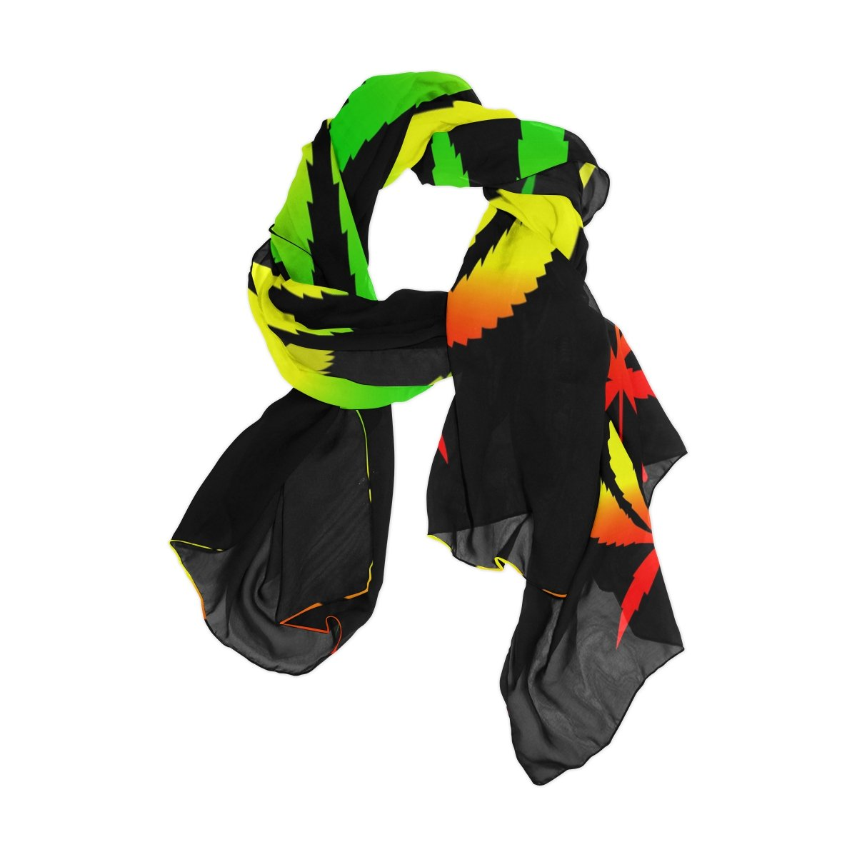 Use4 Fashion Lightweight Marijuana Leaf Chiffon Silk Long Scarf ...