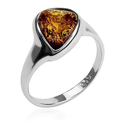 Amber Sterling Silver Drop Ring ILJ31
