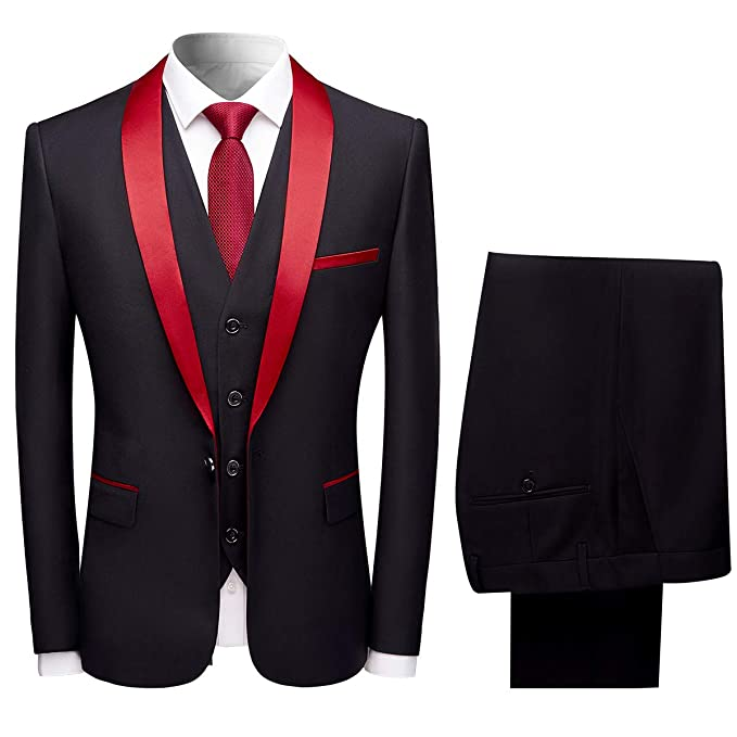 6b37c78c7259 Sliktaa Mens Suits 3 Pieces Slim Fit Wedding Formal Dinner Suit Black Navy  Wine Red One Button Notched Lapel Tuxedo Blazer Jacket Trousers and  Waistcoat