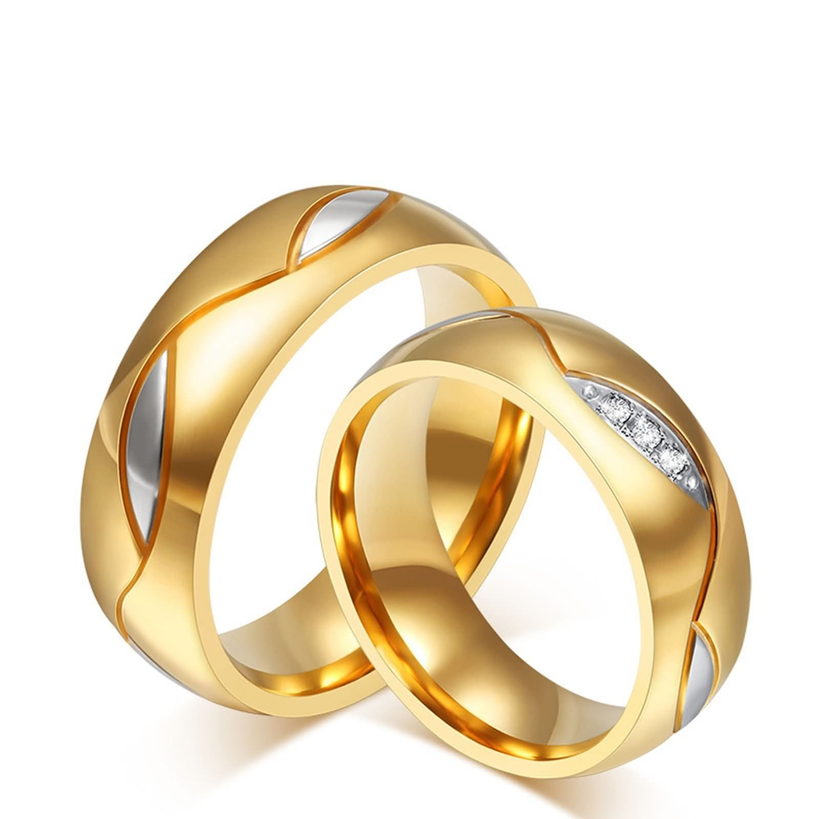 Beydodo Wedding Band Ring Sets Couple Rings Stainless Steel Round CZ Women Size 10 & Men Size 9