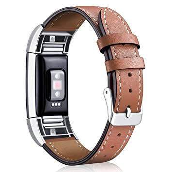 Bracelet de montre de rechange en cuir pour Aisports Fitbit Charge 2 - Bracelet réglable marron