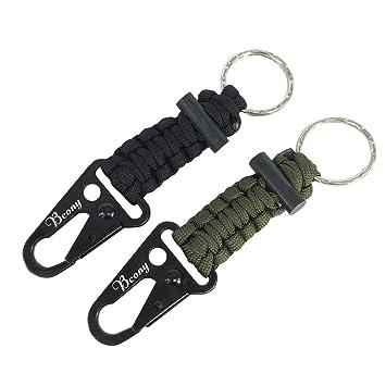 Bcony 2 piezas Llavero de Supervivencia Paracord con Mosquetón / iniciador de fuego para campamento senderismo aire libre emergencia,Verde Negro