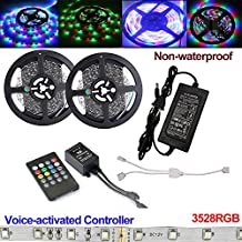 Firstsd 10M 32.8ft Non-Waterproof Flexible Color Changing RGB SMD3528 600 LEDs Light Strip Kit + 20 Key Remote music controller + 12V 5A Power Supply