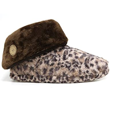 ea669eeff008 Ladies Slippers Women Girls Winter Warm Fur Thermal Luxury Ankle Boots  Bootie S(3/4) M(5/6) L(7/8) (UK 7-8, Brown Leopard): Amazon.co.uk: Shoes &  Bags