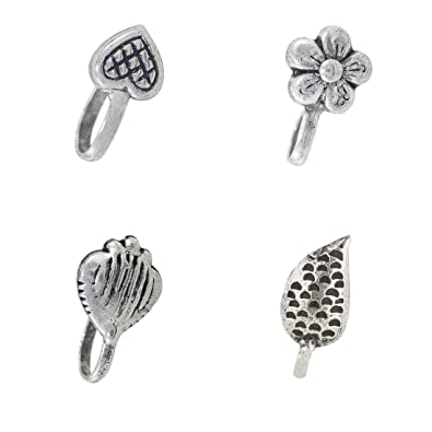2e4b62056c0 Buy Nose Pin :Antique Oxidized Silver Metal Nose Pin/Nose Stud For  Girls/Women Online at Low Prices in India   Amazon Jewellery Store -  Amazon.in