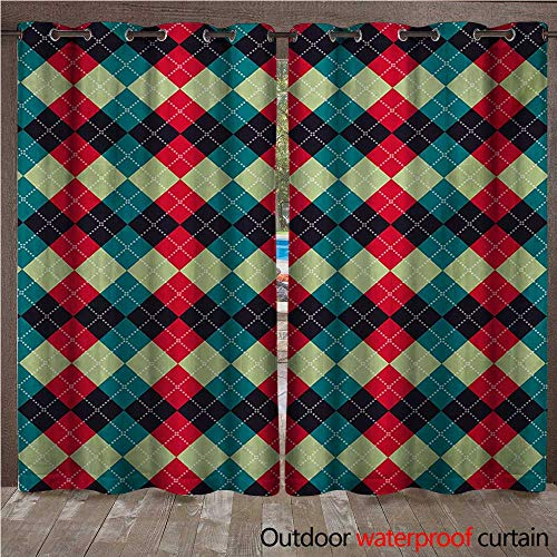(WilliamsDecor Navy and Teal Outdoor Balcony Privacy Curtain Classical Argyle Diamond Line Pattern Vintage Traditional Colorful Retro W84 x L96(214cm x 245cm))