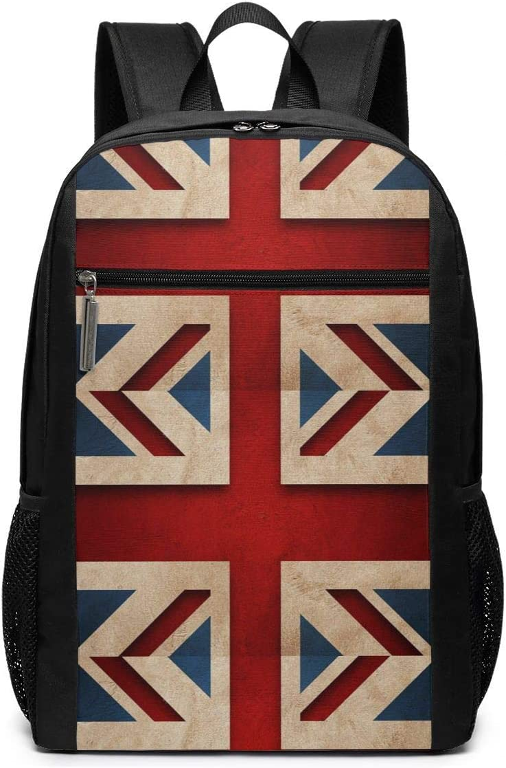 British Flag Vintage 17 Inch Laptop Backpack Large Travel Pringting Backpack Computer Business College School Bookbag Water-Repellent Comfy Casual Daypack with Mesh Pockets