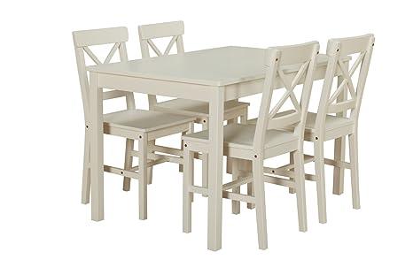 Dynamic24 Kiefer Landhaus Essgruppe Tisch 4 Stühle Stuhl Sitzgruppe Küche  Esstisch weiß