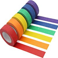 AUTENS Colored Masking Tape, 6 Pack 1 Inch x 13 Yards (2.4cm X 12m) Colorful Paper DIY Decorative Stickers Tape Fun…