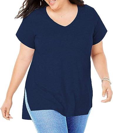 Camiseta Mujer Verano Tallas Grandes Moda Color sólido Manga Larga Blusas Camisa Cuello en v Basica Camiseta Suelto Tops Casual Fiesta T-Shirt Original tee vpass (L-5XL): Amazon.es: Ropa y accesorios