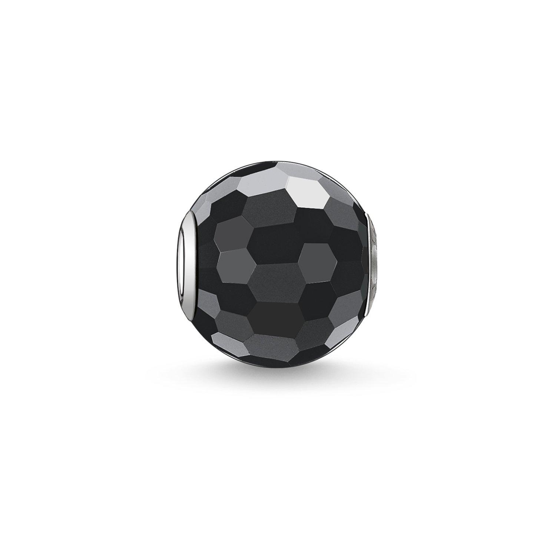Thomas Sabo Damen Herren-Bead Obsidian facettiert Karma Beads 925 Sterling Silber schwarz K0003-023-11