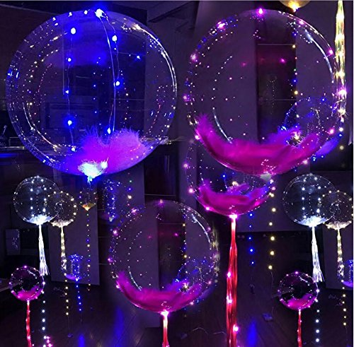 18 Inch 5 PCS Led Light Up BoBo Balloon Flashing Color, Fillable Transparent Balloons with Helium, Great for Christmas Party, House Decorations, Wedding and Party Decoration- Lasts 72 (Glowing Balloon)