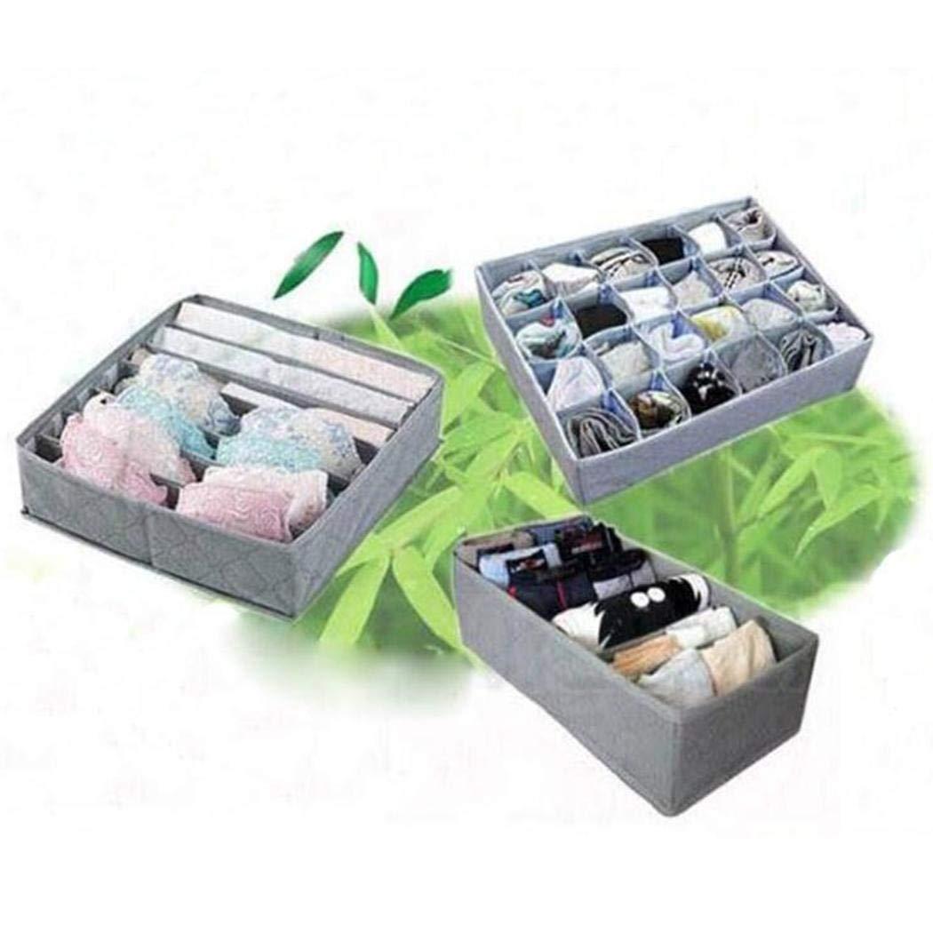 gensit Caja de Almacenamiento de carb/ón de bamb/ú Caja de Almacenamiento de Sujetador de Ropa Interior de Tres Piezas Unidades de cajones de almacenaje