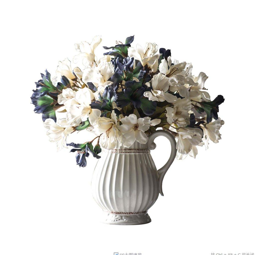リリー人工花白と青のセット偽の花のテーブルアレンジメントフラワーギフトの装飾 B07HK1LVCZ